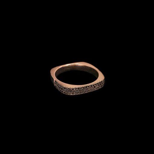 Anillo Endless de oro rosa y diamantes negros Cuadrado
