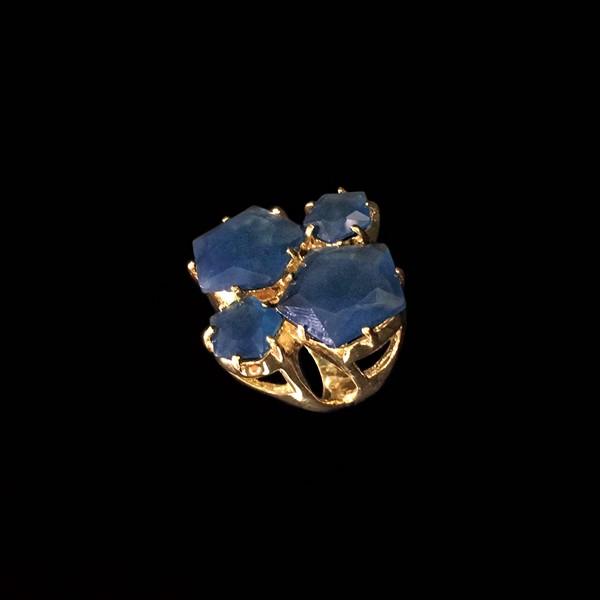 Anillo Iceberg de plata dorada y cuarzo azul XL