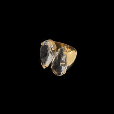 Anillo Iceberg de plata dorada y cuarzo hidrotermal L