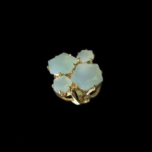 Anillo Iceberg de plata dorada y cuarzo verde XL