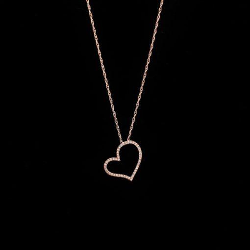 Colgante Endless de oro rosa y diamantes Corazón
