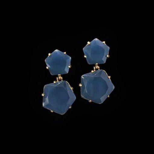 Pendientes Iceberg de plata dorada y cuarzo azul L