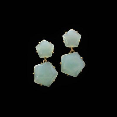 Pendientes Iceberg de plata dorada y cuarzo verde L