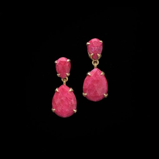Pendientes Gemstones de plata dorada y cuarzos rubí