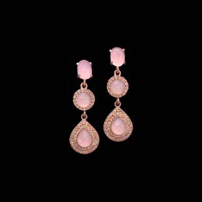 Pendientes Havana de plata rosa y cuarzo rosa