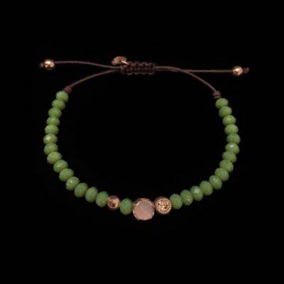 Pulsera Havana de plata rosa, cuarzo rosa y hematites verde