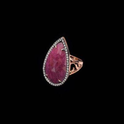 Anillo Gemstones de plata rosa y rubí