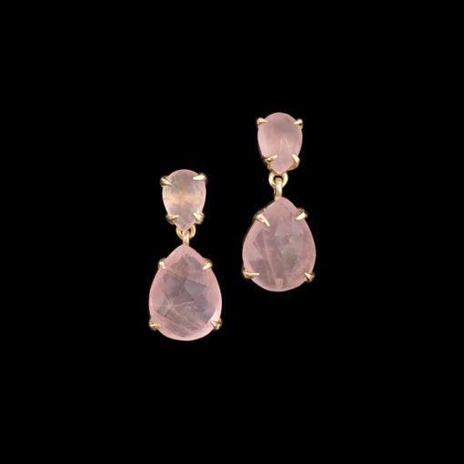 Pendientes Gemstones de plata dorada y cuarzos rosas
