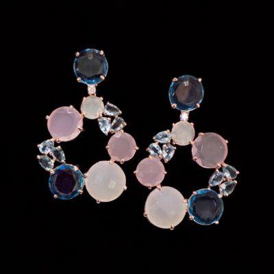 Pendientes Mosaic de cuarzos rosa y azul Capua