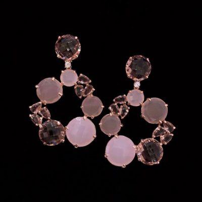 Pendientes Mosaic de cuarzos rosa y fumé Capua