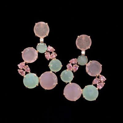 Pendientes Mosaic de cuarzos rosa y verde Capua