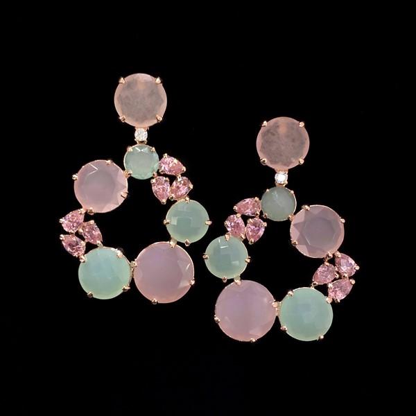 Pendientes Mosaic de plata rosa y cuarzos rosa y verde Capua