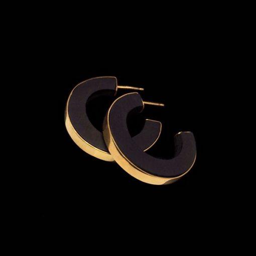 Pendientes Marai de plata dorada y ébano Nyeri