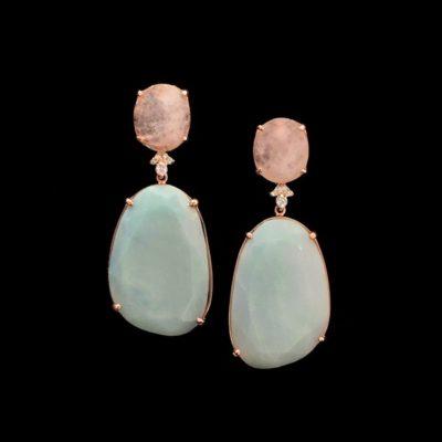 Pendientes Gemstones de plata rosa, cuarzo rosa y amazonita Marzia
