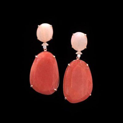 Pendientes Gemstones de plata rosa, cuarzo rosa y cuarzo coral Marzia