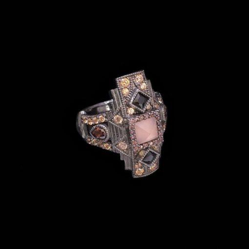 Anillo Enigma de plata y cuarzo rosa Arcano