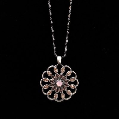 Colgante Enigma de plata y cuarzo rosa Florón