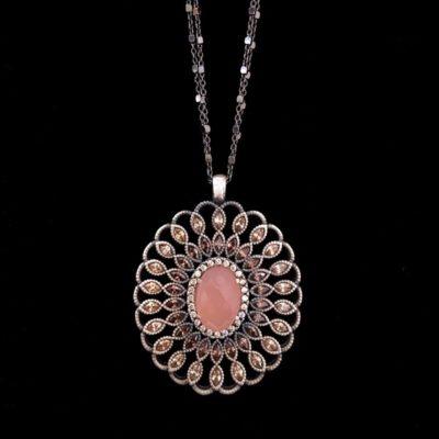 Colgante Enigma de plata y cuarzo rosa Óvalo