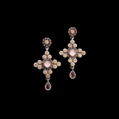 Pendientes Enigma de plata y cuarzo rosa Clave
