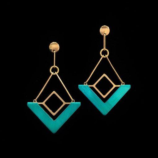 Pendientes Marai de plata dorada Narok Triangular