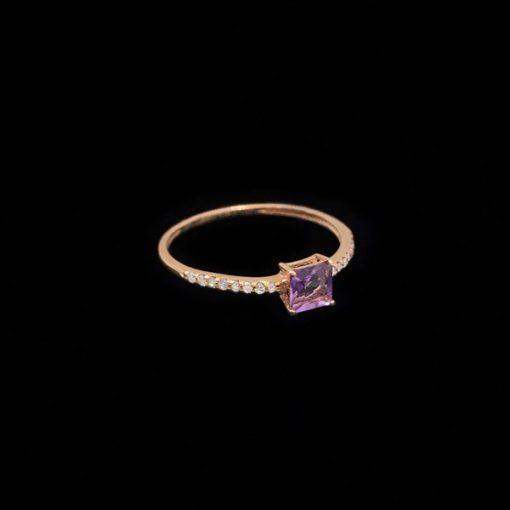 Anillo Endless de oro rosa, amatista y diamantes