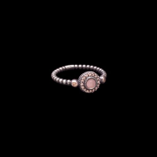Anillo Enigma de plata y cuarzo rosa Mini