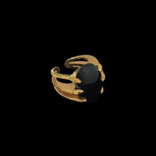 Anillo Marai de plata dorada y ónix Rift