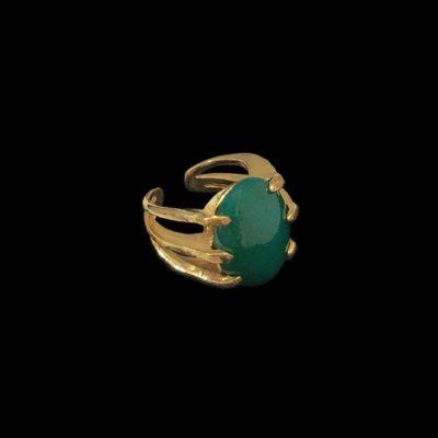 Anillo Marai de plata dorada y ónix verde Rift