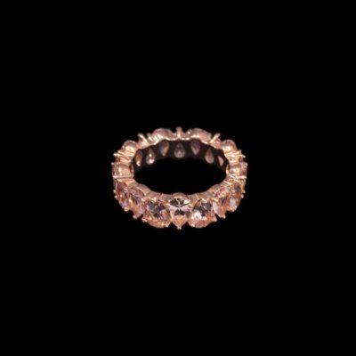 Anillo Mosaic de plata rosa y cuarzos rosas Gotas