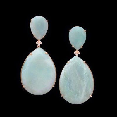Pendientes Gemstones de plata rosa y amazonitas Selene
