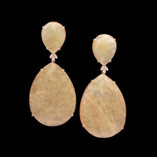 Pendientes Gemstones de plata rosa y cuarzos crema Selene