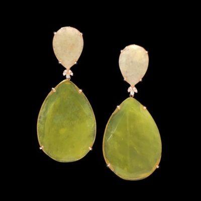 Pendientes Gemstones de plata rosa, cuarzo crema y cuarzo verde Selene