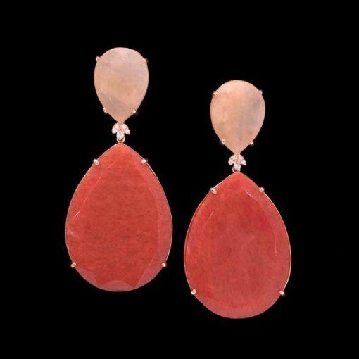 Pendientes Gemstones de plata rosa, cuarzo rosa y cuarzo coral Selene