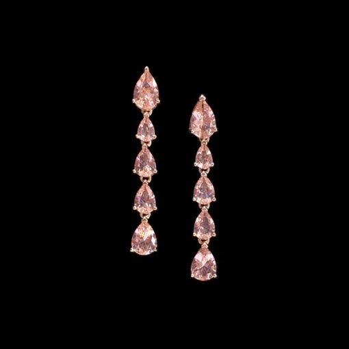 Pendientes Mosaic de plata rosa y cuarzos rosas Gotas