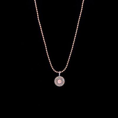 Colgante Enigma de plata y cuarzo rosa Mini