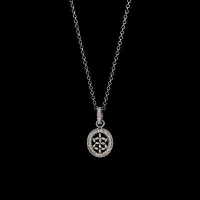 Colgante Bruma de plata negra y diamante gris Caligo