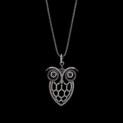Colgante Bruma de plata negra y diamante gris Owl