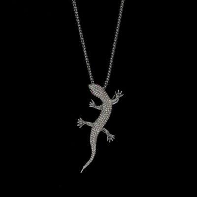 Colgante Bruma de plata negra y diamante gris Salamander