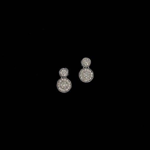 Pendientes Bruma de plata negra y diamante gris Dimma