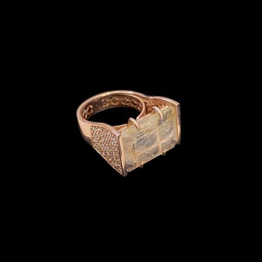 Anillo Havana de plata rosa y cuarzo rutilado