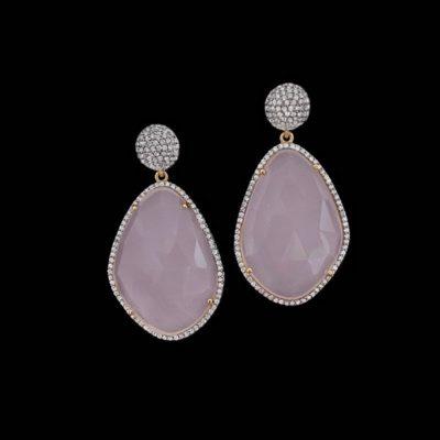 Pendientes Gemstones de plata y cuarzos rosas