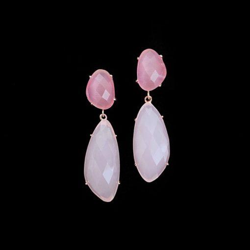 Pendientes Iceberg de plata rosa y cuarzo rosa