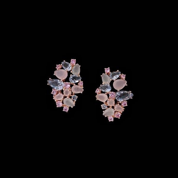 Pendientes Mosaic de plata rosa y cuarzos rosas y azules Casale