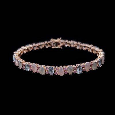 Pulsera Mosaic de plata rosa y cuarzos rosas y azules Casale