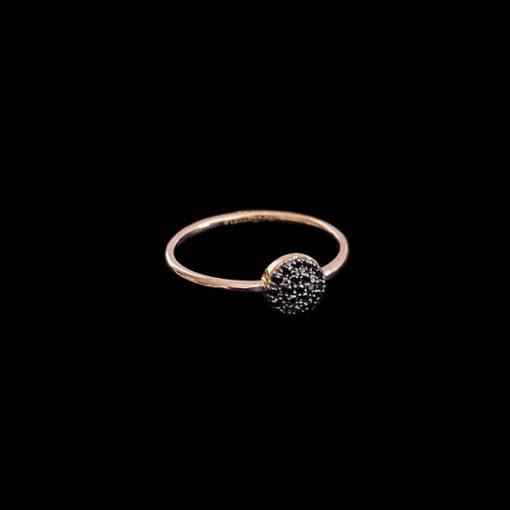 Anillo Endless de oro rosa y diamantes negros Broquel