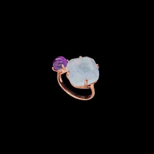 Anillo Gemstones de plata rosa, amatista y cuarzo adamantino