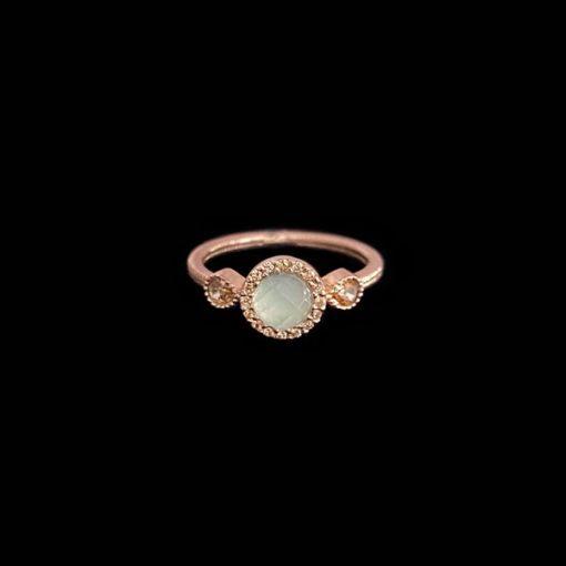Anillo Havana de plata rosa y calcedonia Mini