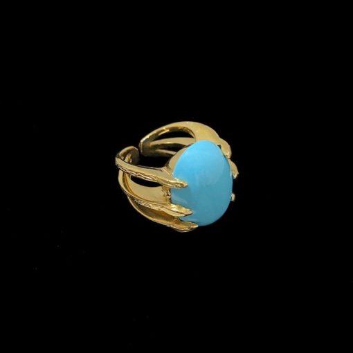 Anillo Marai de plata dorada y turquesa Rift