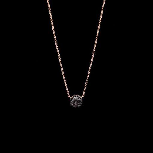 Colgante Endless de oro rosa y diamantes negros Broquel