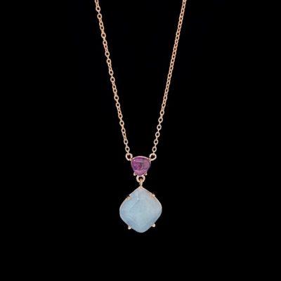Colgante Gemstones de plata rosa, amatista y cuarzo adamantino